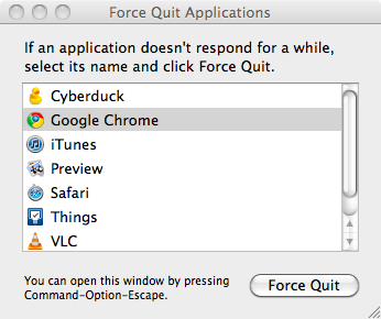 The Force Quit Applications Window on Mac OS X 10.6