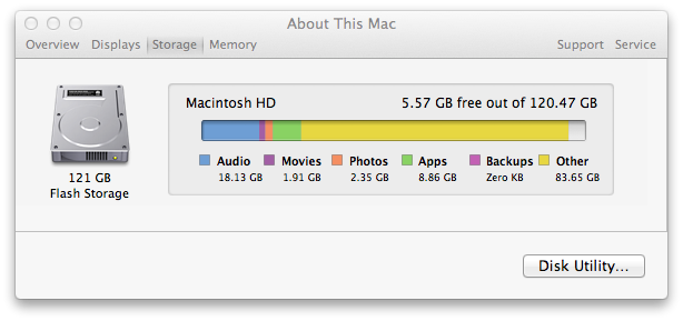 Screenshot of Checking Disk Size and Free Disk Space on OS X Lion using About This Mac