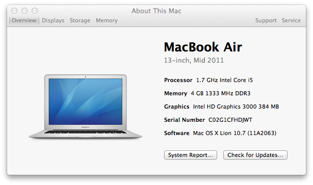 The MacBook Air i5 13 inch mid-2011's About This Mac Overview window, showing a base speed of 1.7 GHz