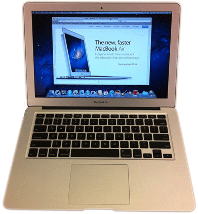MacBook Air 13 inch mid-2011 photo taken from raised position in front